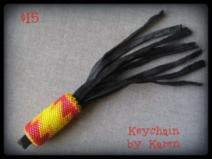 red, ornge and yellow keychain in 13 beads