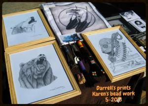 Darrell's prints and karen's beadwork